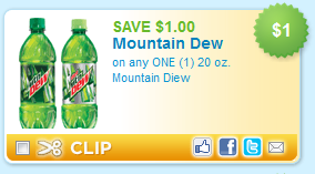 About Mountain Dew Be sure to sign up for email alerts or add them to your list, so you'll always be the first to know when more Mountain Dew coupons arrive! Want other grocery coupons? We've got .