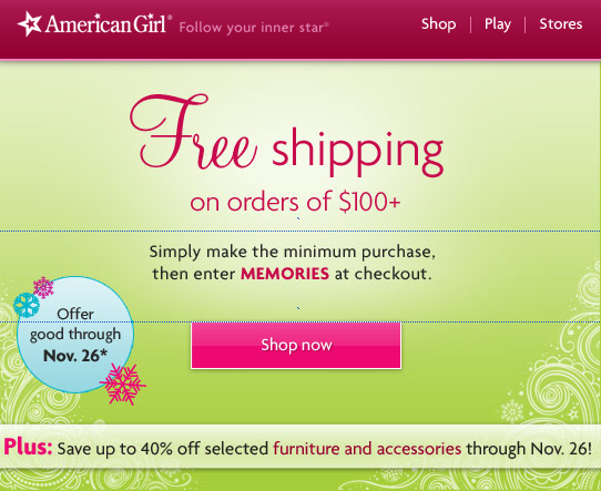 American girl free shipping coupon code