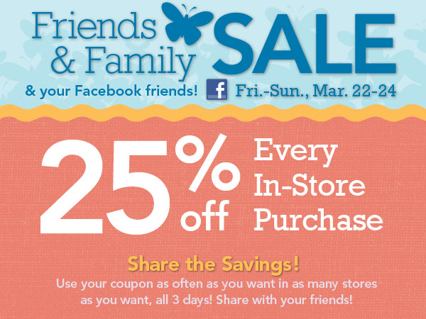 Joann friends and family sale