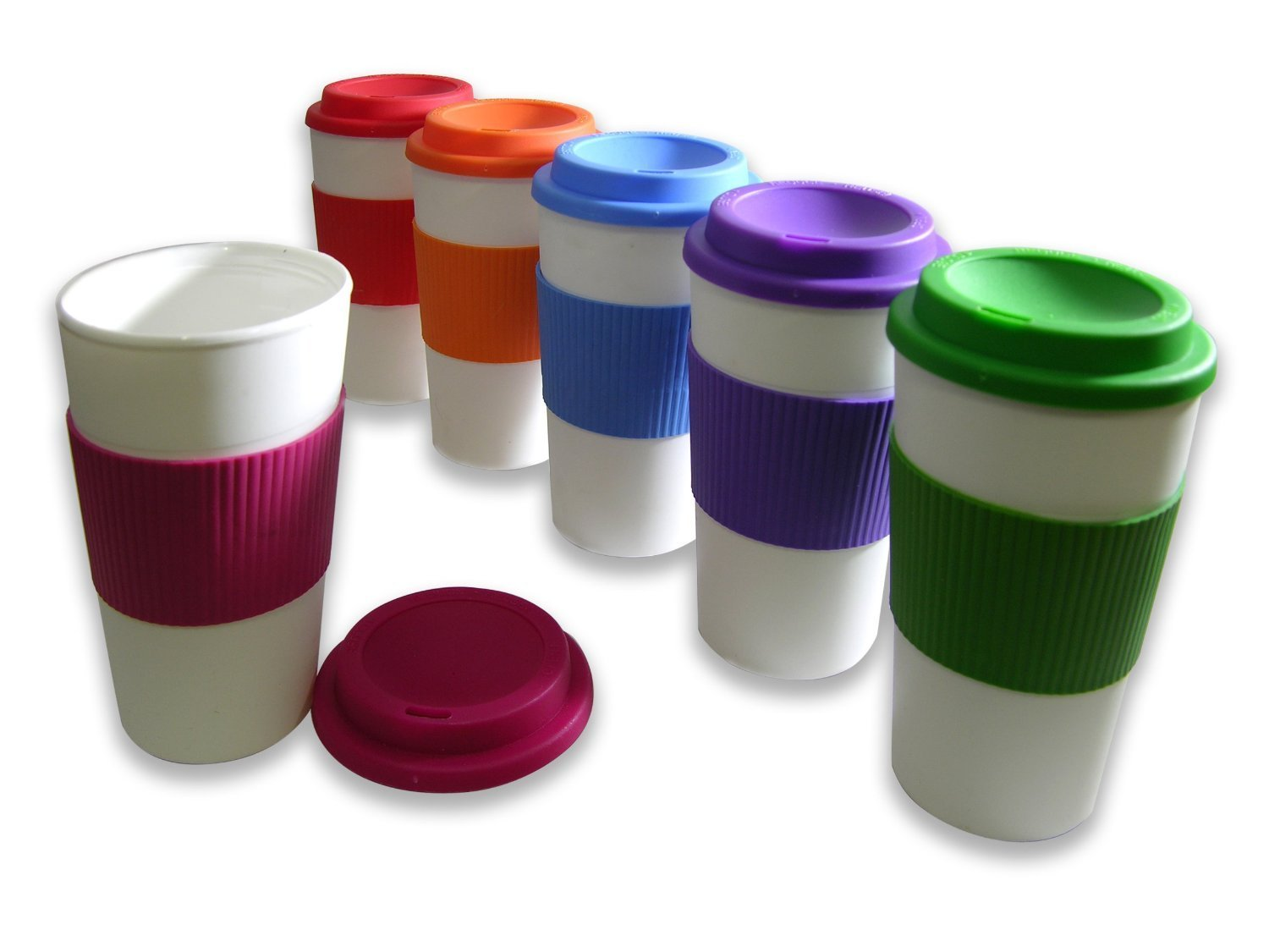 Set Of 6 Reusable To Go Travel Mugs With Grip 71 Off