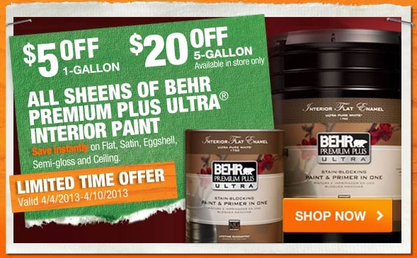 Right now, save on BEHR PREMIUM PLUS ® 2-gallon Ceiling Paint. Exclusively at The Home Depot. Exclusively at The Home Depot. Special Pricing of $ through Dec. 31,