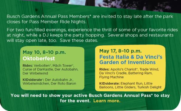 Busch Gardens Pass Member Nights