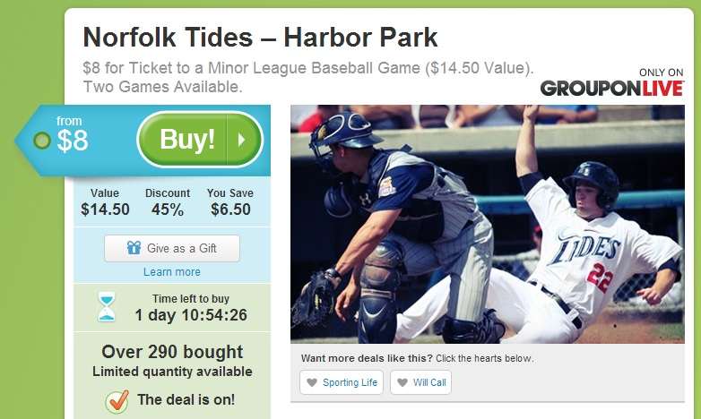 Groupon Live Tickets To The Norfolk Tides The Coupon Challenge - Groupon baseball tickets