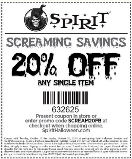 spirit halloween 20 off any single item