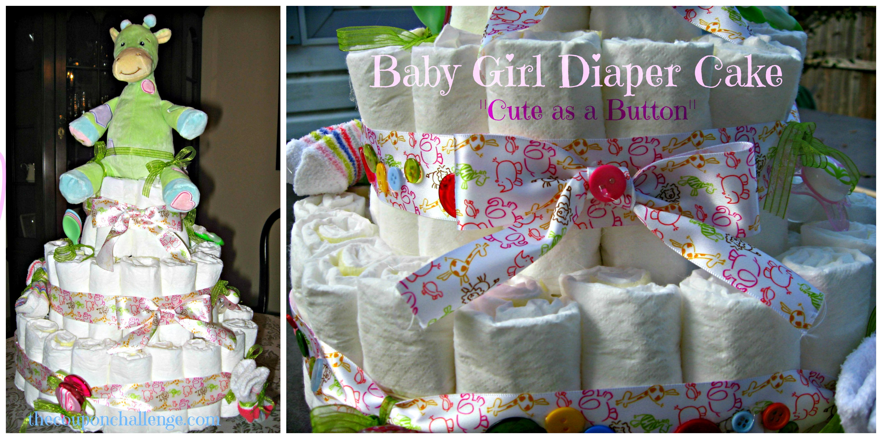 how to make a diaper cake for a girl