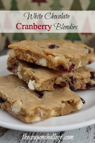 White Chocolate & Cranberry Blondies Recipe