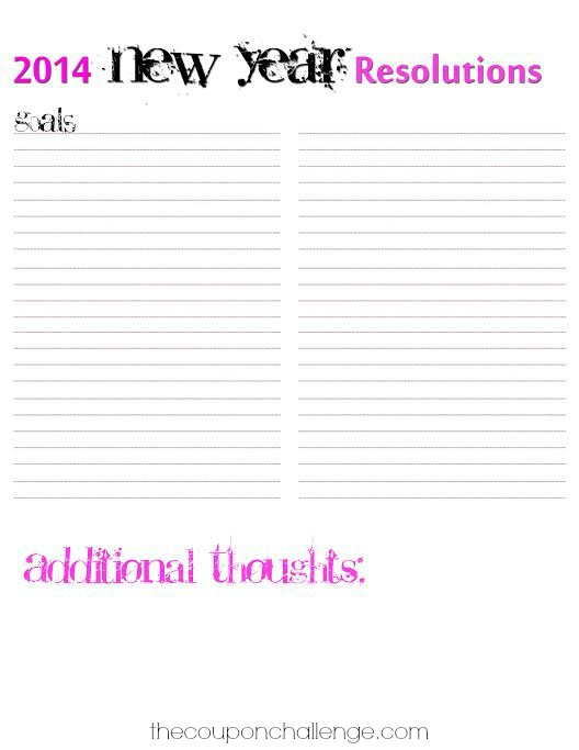 2014 New Year Resolution Goal Planner