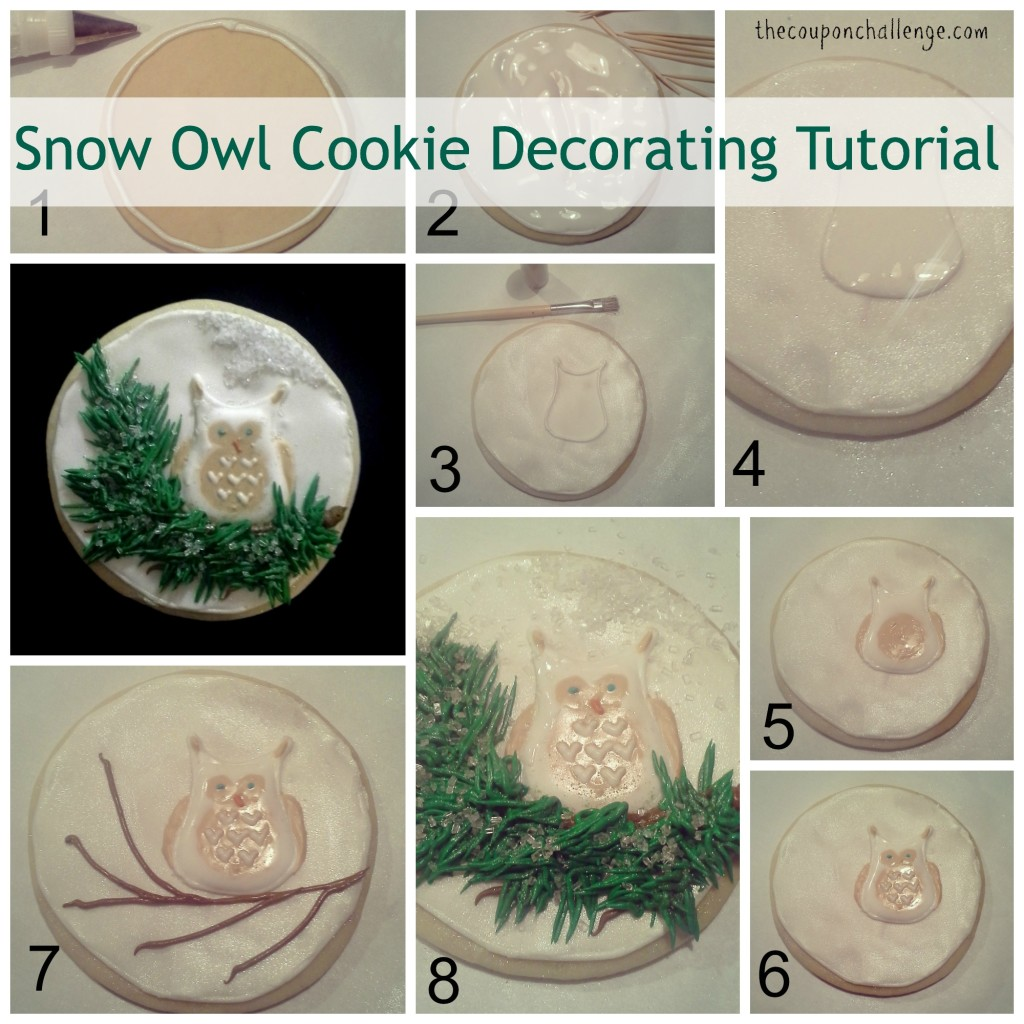 Snow Owl Cookie Decorating Tutorial Collage