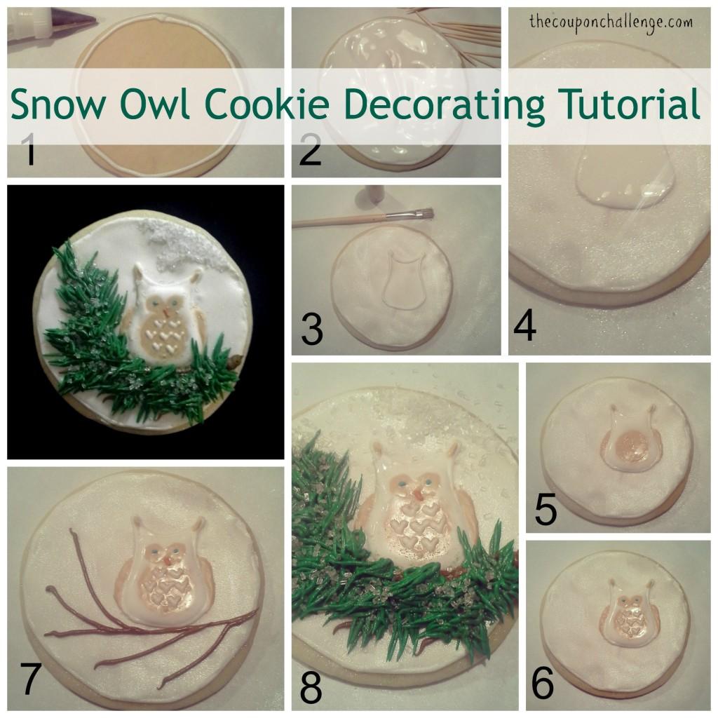 Snow Owl Cookie Decorating Tutorial Collage