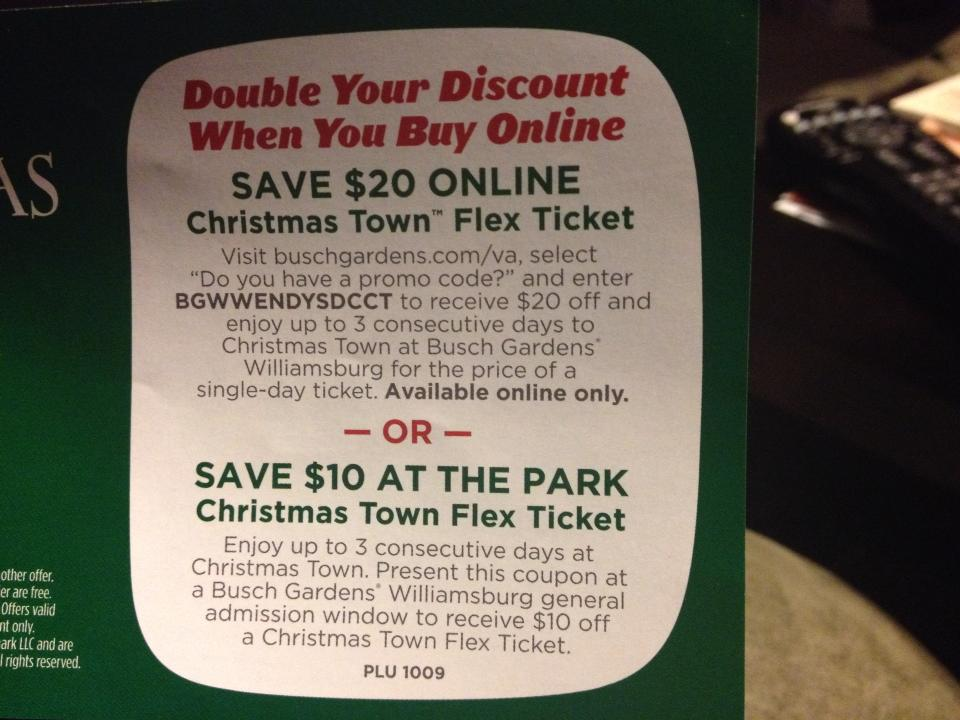 Busch gardens christmas town archives the coupon challenge Busch gardens williamsburg discount tickets