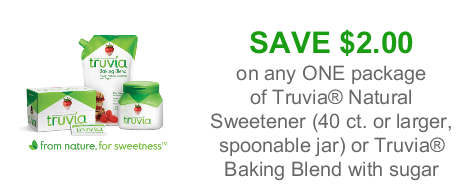 Truvia has a new coupon out now. This deal is for $1 off your purchase of Truvia Natural Sweetener or Truvia Baking Blend with Sugar. Find this item in the baking aisle. Truvia $1 Off Coupon.