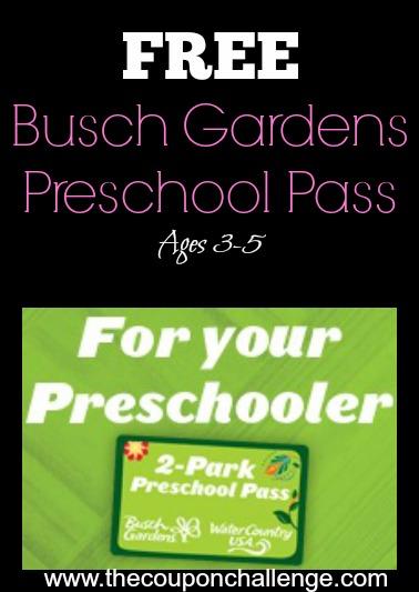 Free Busch Gardens Preschool Pass