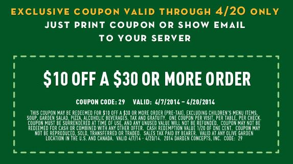 Olive Garden: Save $10 Off $30 Coupon! - The Coupon Challenge