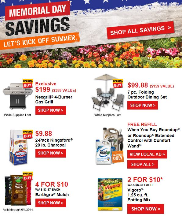 home depot hot memorial day savings 40 lbs kingsford charcoal only more deals the. Black Bedroom Furniture Sets. Home Design Ideas