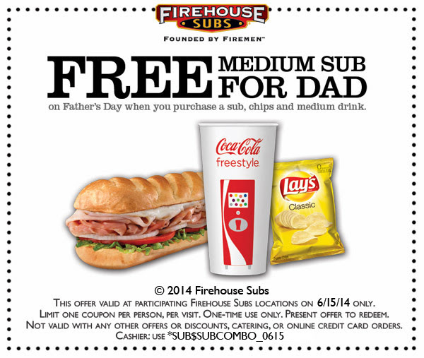 photo regarding Firehouse Subs Coupon Printable called Firehouse Subs: Absolutely free Sub for Father upon 6/15 - The Coupon Issue