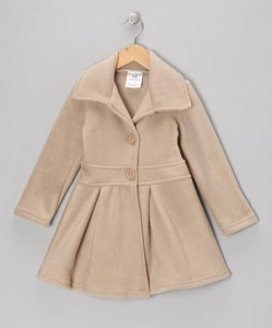 Tan Button Coat - Infant, Toddler & Girls