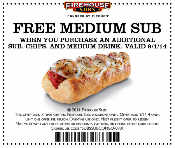 picture relating to Firehouse Subs Printable Menu identified as Firehouse Subs: No cost Sub upon Labor Working day - The Coupon Trouble