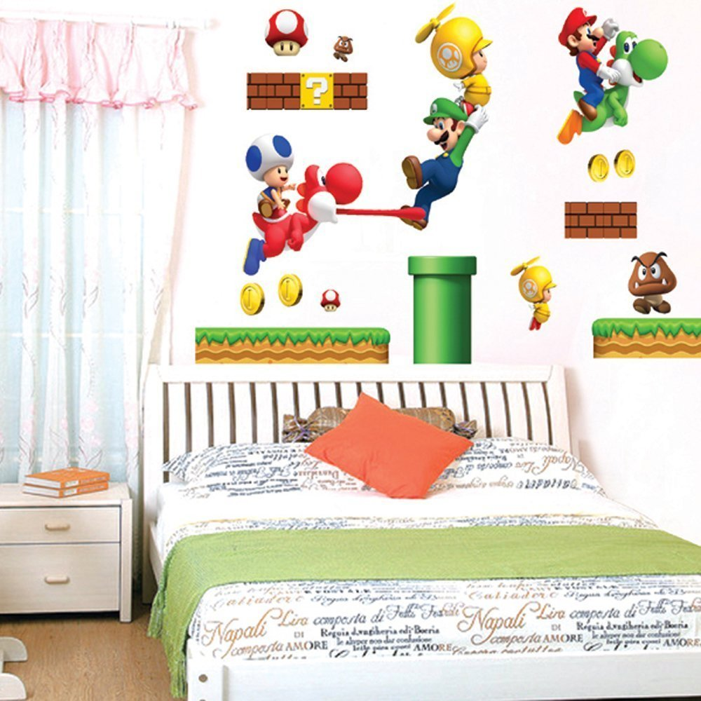 Amazon super mario removable vinyl mural art wall sticker for Amazon wall mural