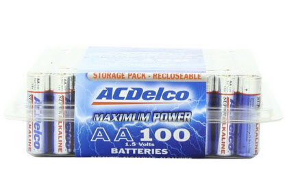 ACDelco 100 AA Alkaline Batteries in Reclosable Storage Box, 100 Count