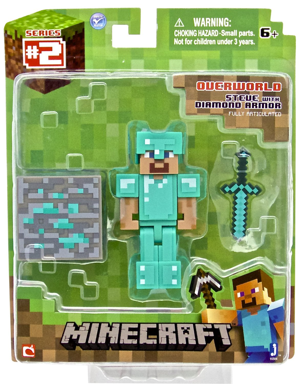 amazon  minecraft diamond steve action figure only  6 25