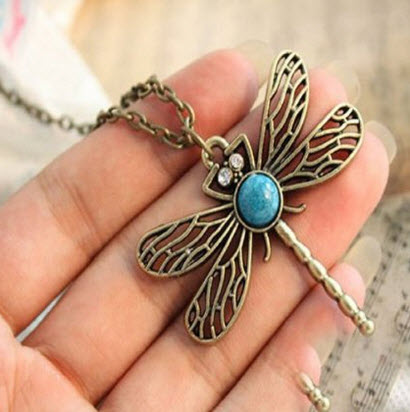 BUYINHOUSE Retro Vintage Dragonfly Necklace Pendant with Chain