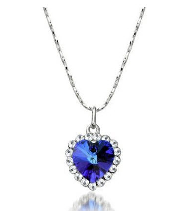 Blue Heart of Ocean Artifical Crystal Necklace Pendant with Chain Perfect Gift