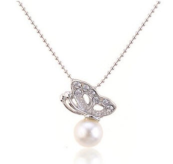 Chopmall(TM) Butterfly With Faux Pearl Rhinestone Pendant Necklace