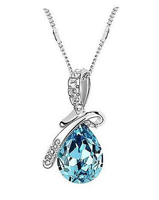 Chopmall(TM) Classic (Angel Tears) Platinum-Plated Crystal Necklace Blue
