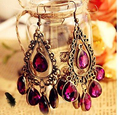 Chopmall(TM) European and American jewelry retro hollow flowers large gemstone drop earrings