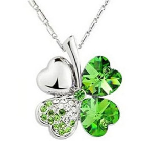 Domire Lucky Four Leaf Clover crystal Pendant Neacklace