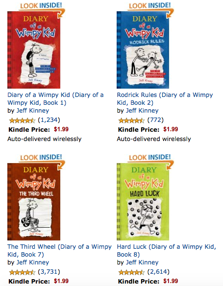 Amazon Kindle: Diary of a Wimpy Kid Books 1-8 Just $1 99