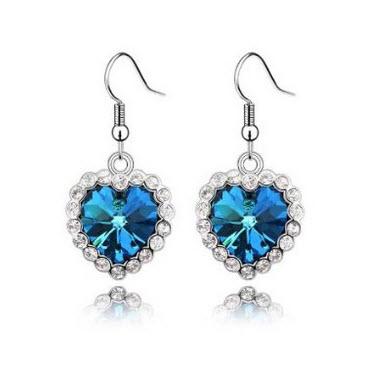 Topstaronline (TM) Swarovski Elements Crystal Love Heart of the Ocean Titanic Earrings