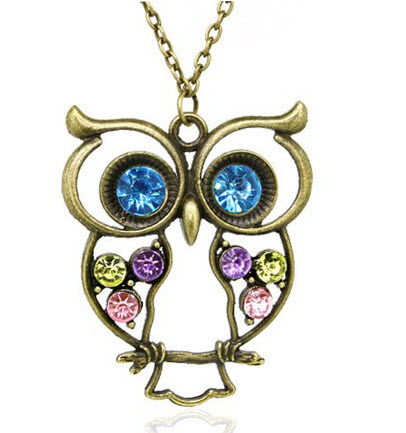 Vintage, Retro Colorful Crystal Owl Pendant and Long Chain Necklace with Antiqued Bronze Brass Finish