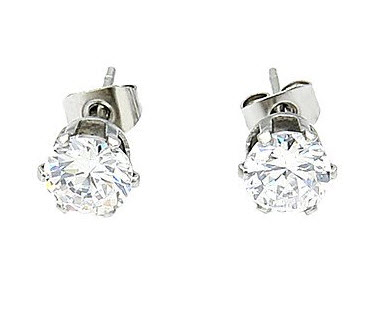 Women's Fine Silver Stud Earring With Diamond Mounted