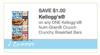 Kellogg's Nutri-Grain Crunch coupon