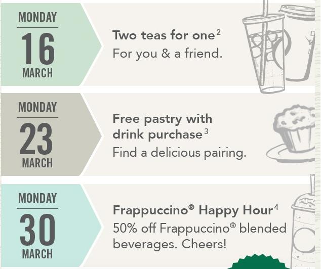 My Starbucks Reward Members March offers 1