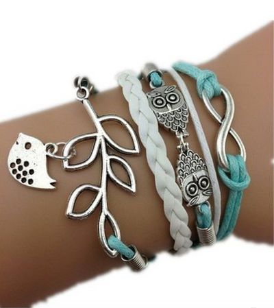Braided Owl Infinity Love Olive Branch Bird Braided Leather Rope Wrap Bracelet
