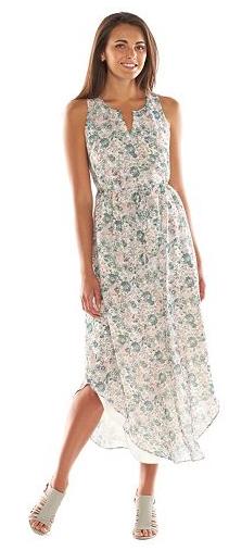 LC Lauren Conrad Floral Shirttail-Hem Maxi Dress