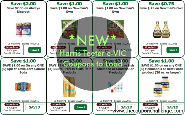 New Harris Teeter E-VIC Coupons to Load