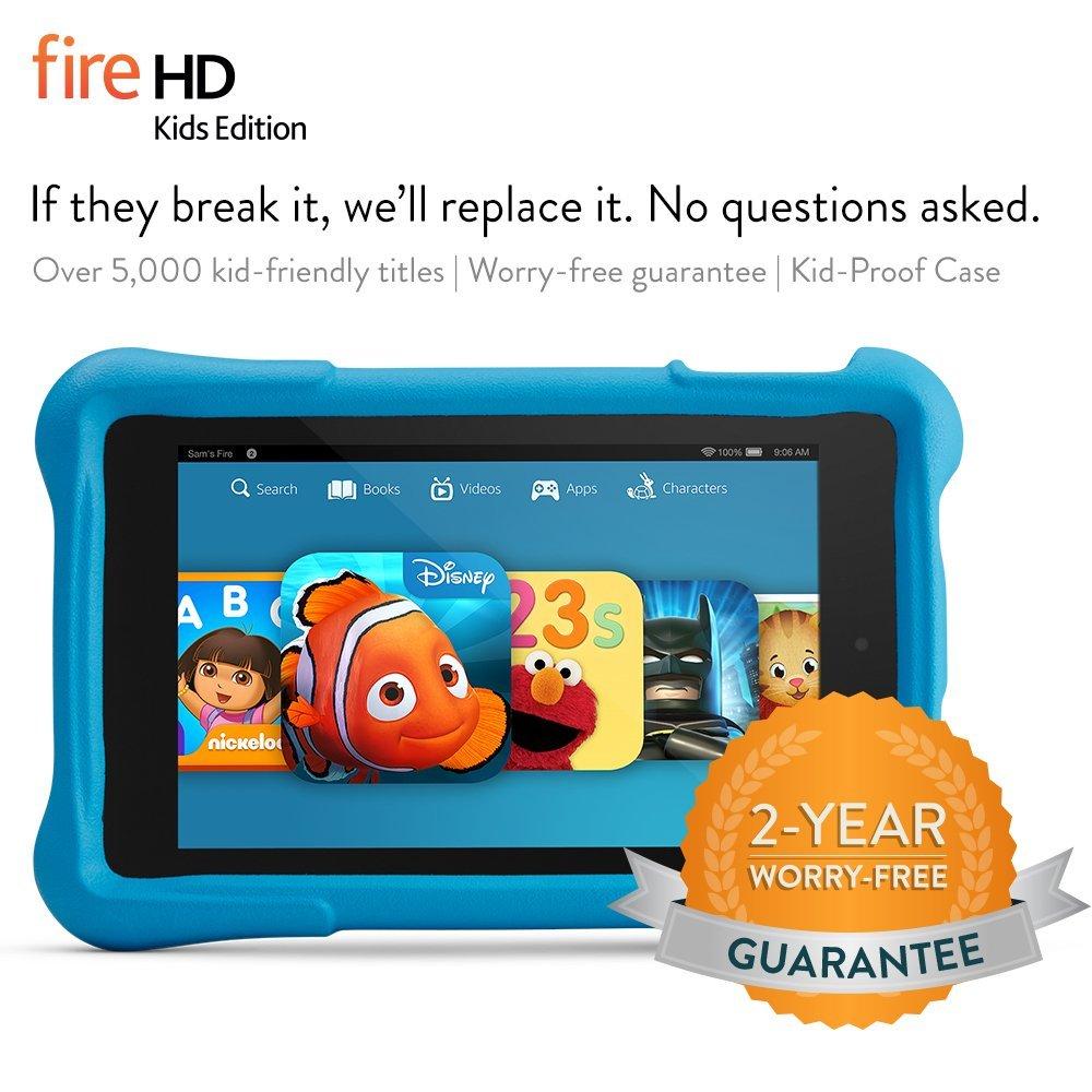 """Fire HD 7 Kids Edition, 7"""" HD Display, Wi-Fi, 8 GB, Blue Kid-Proof Case"""