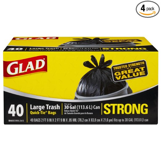 Glad Strong Outdoor Quick-Tie Large Trash Bags coupon