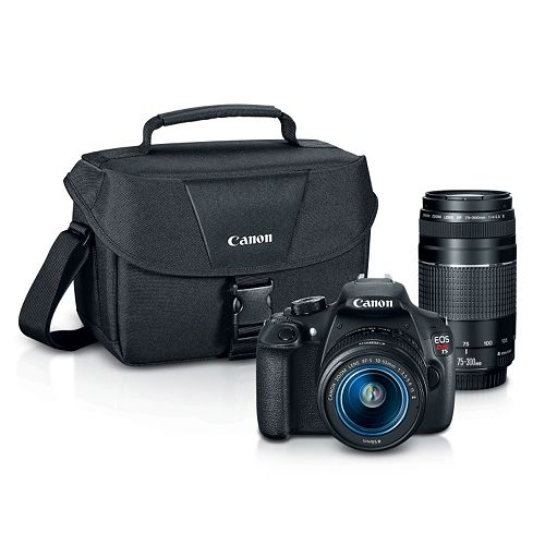 Canon EOS Rebel T5 Digital SLR Camera with Bag, 18-55mm Lens & 75-300mm Lens