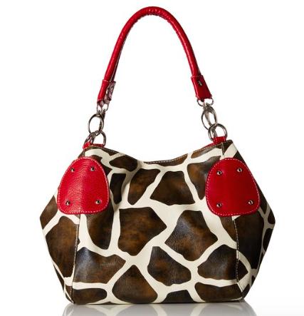 Giraffe Print Faux Leather Tote Shoulder Handbag