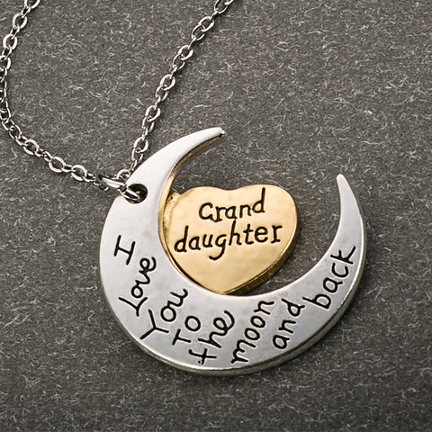 Moon and Back Granddaughter Necklace