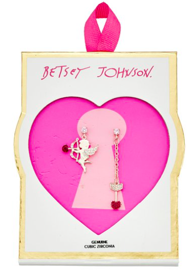 Betsey Johnson Valentine's Day Pave Cubic Zirconia Cupid and Arrow Mismatch Stud Earrings