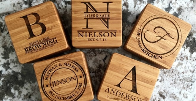 Personalized Thick Bamboo Coasters