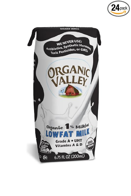 Organic Valley 1% Plain Lowfat Milk, 6.75 Ounce (Pack of 24)