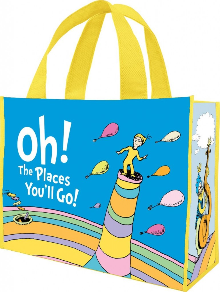 Dr. Seuss Oh the Places You'll Large Recycled Tote