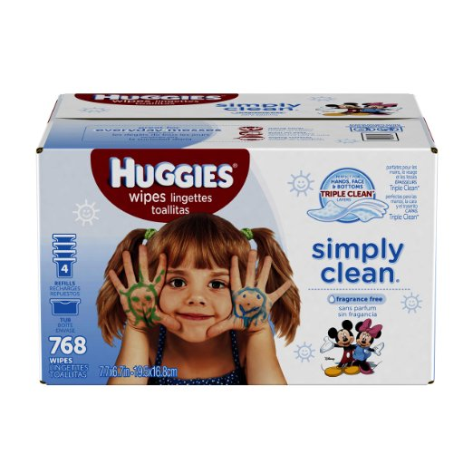 Huggies Simply Clean Baby Wipes, Unscented, Refill, 768 Ct