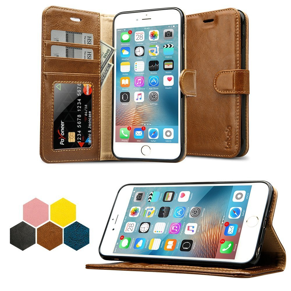 has iphone 6s plus wallet casee labato genuine leather folio flip case ...